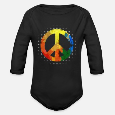 Festival Hippie Hippie Movement Peace Movement Peace - Organic Long-Sleeved Baby Bodysuit