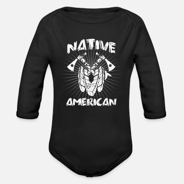 American Indian Native American Indian Native American Indian - Organic Long-Sleeved Baby Bodysuit