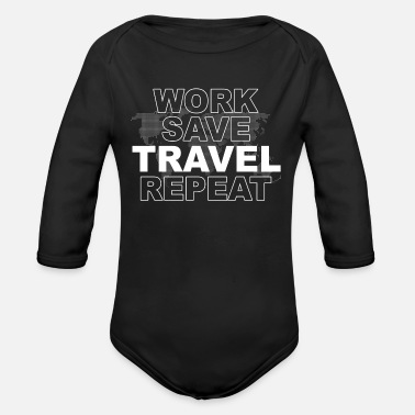 Travel Traveling Travel - Organic Long-Sleeved Baby Bodysuit
