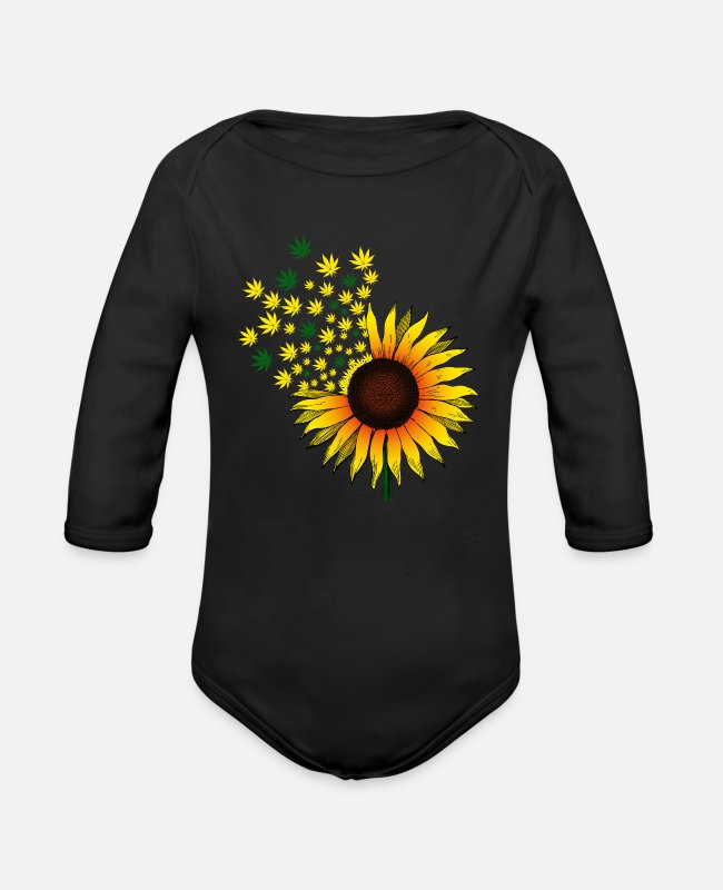 Hemp Baby Bodysuits - Sunflower hemp cannabis marijuana - Organic Long-Sleeved Baby Bodysuit black