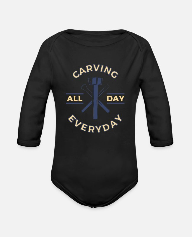 Carve Pitted Baby Bodysuits - Stone carvings every day - Organic Long-Sleeved Baby Bodysuit black