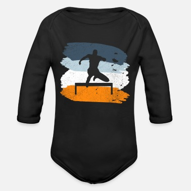 Hurdle hurdling - Organic Long-Sleeved Baby Bodysuit