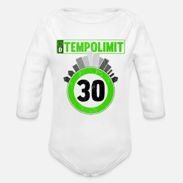 Speed Frenzy Speed limit 30 downtown - Organic Long-Sleeved Baby Bodysuit