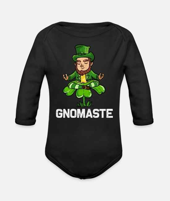 st patricks day Baby Clothes - St Patrick's Day Irish Ireland Yoga Paddy - Organic Long-Sleeved Baby Bodysuit black