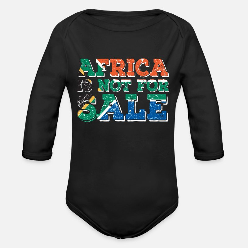 Africa Baby Clothes - Africa Africa - Organic Long-Sleeved Baby Bodysuit black