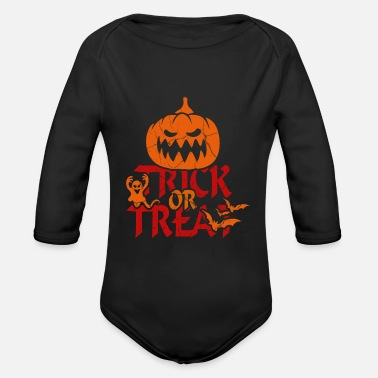 Trick Or Treat Trick or Treat at Halloween - trick or treat - Organic Long-Sleeved Baby Bodysuit