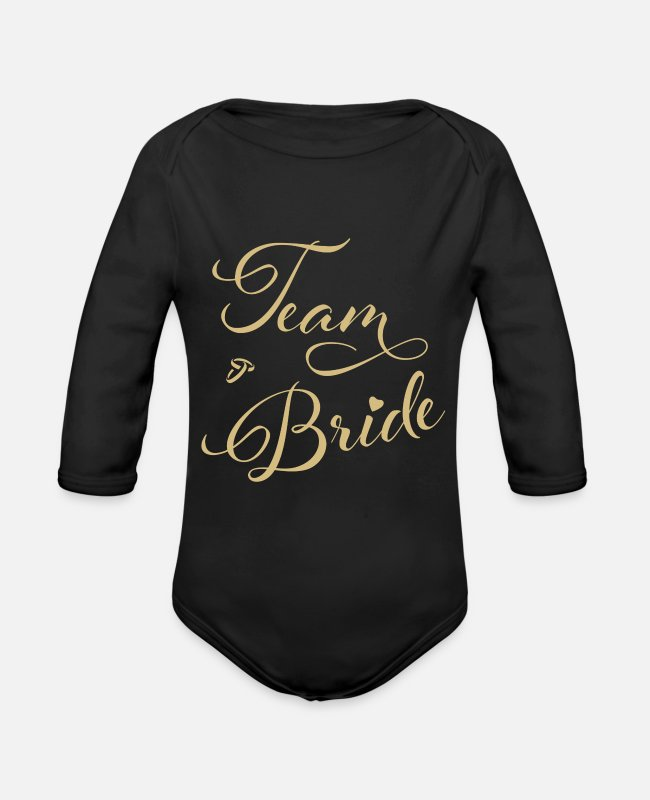 Maid Of Honor Baby Bodysuits - Gift | Team bride hen party - Organic Long-Sleeved Baby Bodysuit black