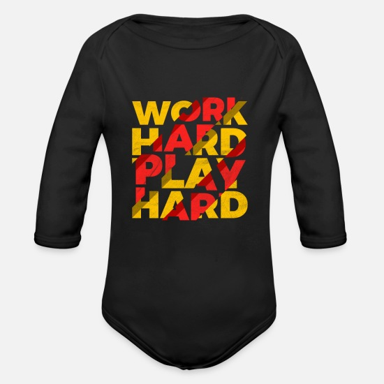 Hardworking Baby Clothes - Work hard play hard - Organic Long-Sleeved Baby Bodysuit black