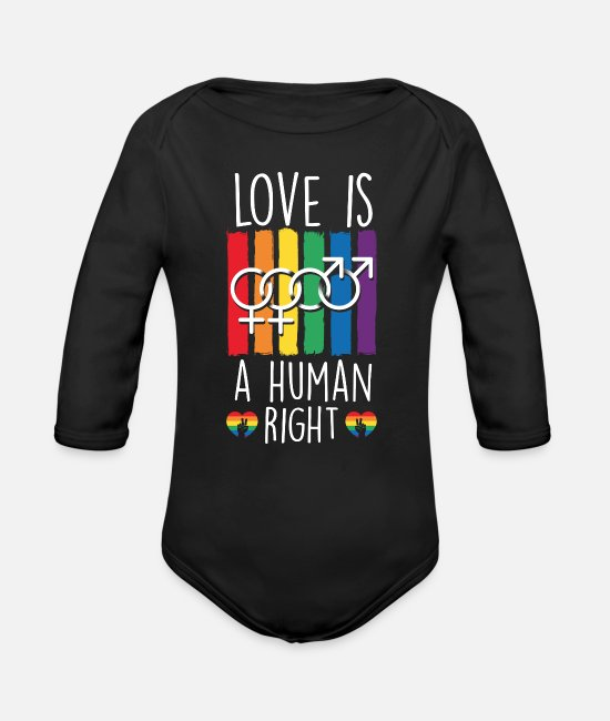 Gay Pride Baby Bodysuits - Love Human Right - Organic Long-Sleeved Baby Bodysuit black