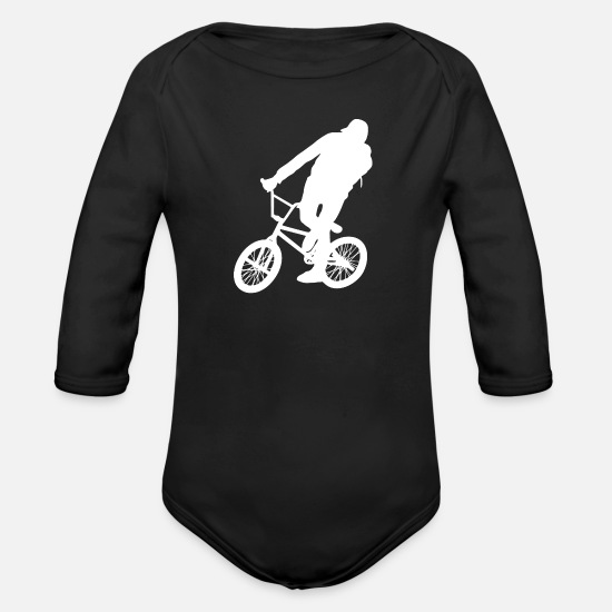 Bicycle Baby Clothes - bmx - Organic Long-Sleeved Baby Bodysuit black
