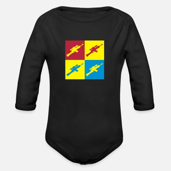 Sporty Baby Clothes - Sport Shooting - Sportschießen - Tir - Sport - Organic Long-Sleeved Baby Bodysuit black