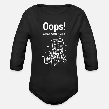 Spill Oops Error 404 Graphic - Organic Long-Sleeved Baby Bodysuit