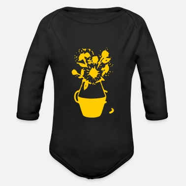 Flower Pot yellow flowers in the pot - Organic Long-Sleeved Baby Bodysuit
