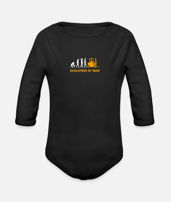 Birthday Baby Clothes - Forklift forklift driver Gift saying - Organic Long-Sleeved Baby Bodysuit black