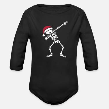 Funny Christmas Santa dab / dabbing skeleton - Organic Long-Sleeved Baby Bodysuit
