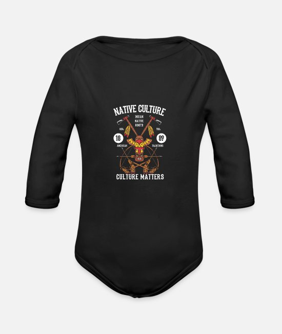 Birthday Baby Clothes - Native Culture - Organic Long-Sleeved Baby Bodysuit black