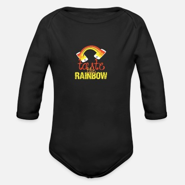 Melting rainbow bleeding gift shirt - Organic Long-Sleeved Baby Bodysuit