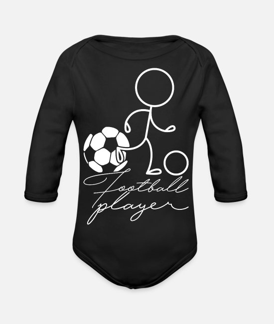 Football Baby Clothes - footballer - Organic Long-Sleeved Baby Bodysuit black