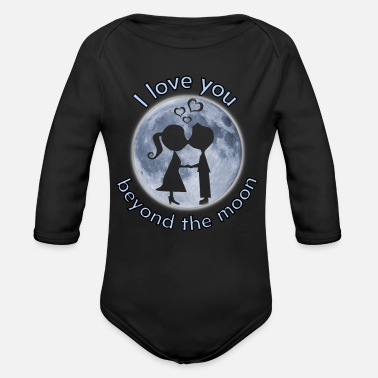 i love you beyond the moon valentine gift - Organic Long-Sleeved Baby Bodysuit