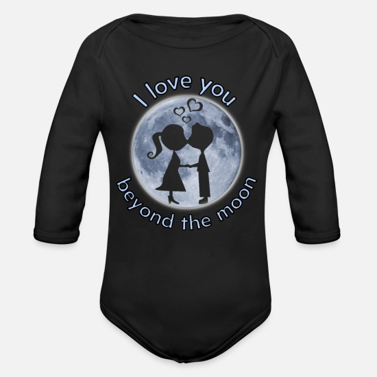 Love Baby Clothes - i love you beyond the moon valentine gift - Organic Long-Sleeved Baby Bodysuit black