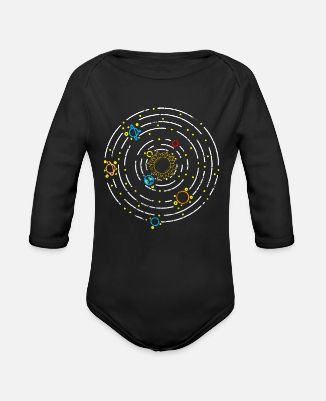 Space Baby Bodysuits - Planet solar system - Organic Long-Sleeved Baby Bodysuit black