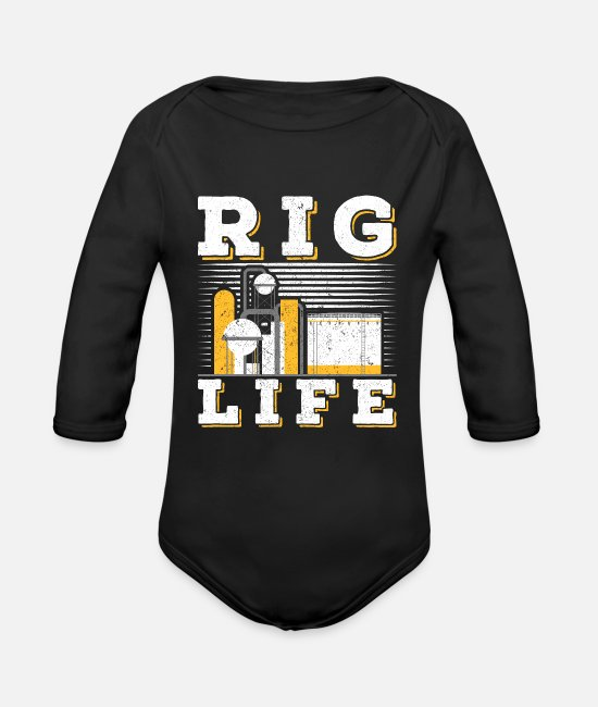 Drilling Baby Bodysuits - Oilfield Rig Life oil field - Organic Long-Sleeved Baby Bodysuit black