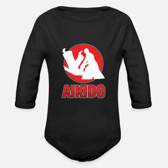 Martial Arts Baby Clothes - Self Defense Martial Arts Judo Karate Combat - Organic Long-Sleeved Baby Bodysuit black