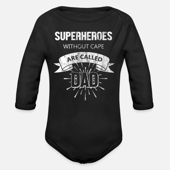 Birthday Baby Clothes - Father superhero without a cape - Organic Long-Sleeved Baby Bodysuit black