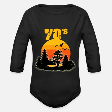 1970 S 1970's 70's nature retro vintage gift - Organic Long-Sleeved Baby Bodysuit