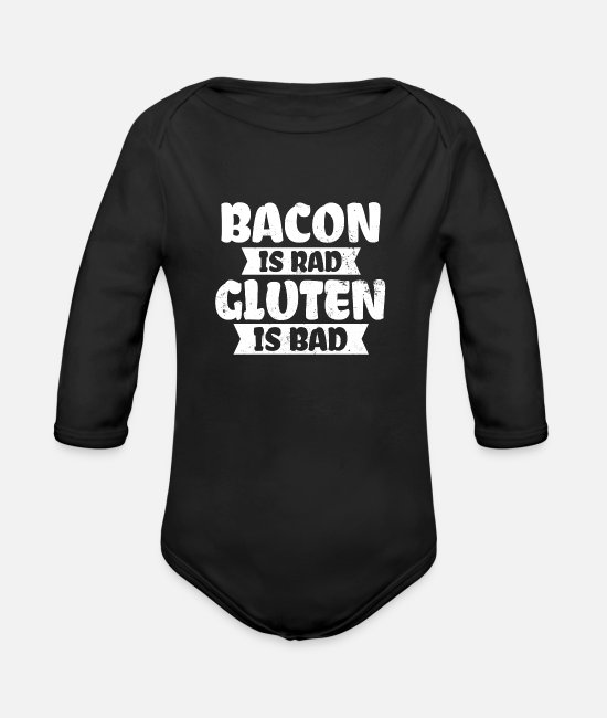 Prescription Baby Bodysuits - Celiac Disease Bacon Rad Gluten Bad Gift - Organic Long-Sleeved Baby Bodysuit black