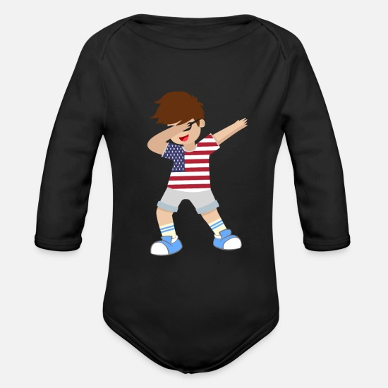 Usa Baby Clothes - Lets Dabb and Have fun in the US as a boy or kid - Organic Long-Sleeved Baby Bodysuit black
