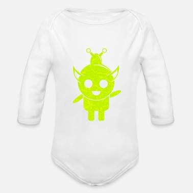 Galaxey Sweet green alien male - Organic Long-Sleeved Baby Bodysuit