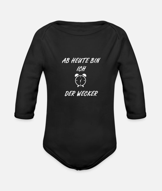 Alarm Clock Baby Clothes - Baby alarm clock - Organic Long-Sleeved Baby Bodysuit black