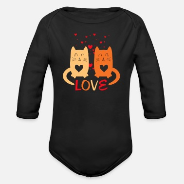 Cats In Love Cats in Love - Organic Long-Sleeved Baby Bodysuit