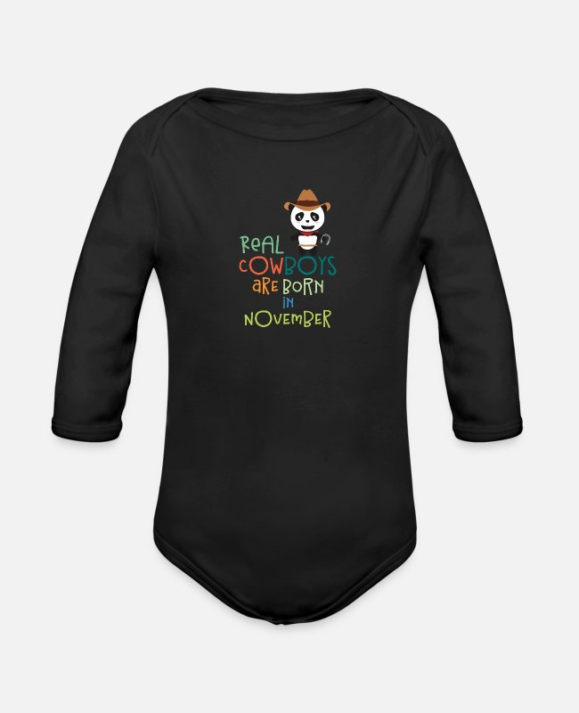 Nature Baby Bodysuits - Real Cowboys are born in November Sh597 - Organic Long-Sleeved Baby Bodysuit black