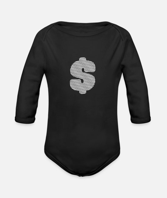 Usa Baby Bodysuits - Dollar sign white - Organic Long-Sleeved Baby Bodysuit black