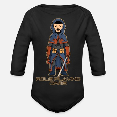 Role Playing Game Role playing game - cartoon warrior - Organic Longsleeve Baby Bodysuit