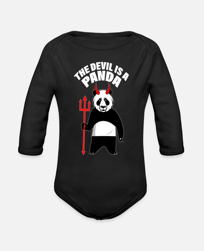 Witchcraft Baby Bodysuits - satan devil loves me panda devilish hell loves - Organic Long-Sleeved Baby Bodysuit black