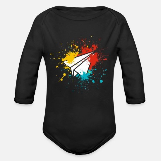 Gift Idea Baby Clothes - paper airplane - Organic Long-Sleeved Baby Bodysuit black