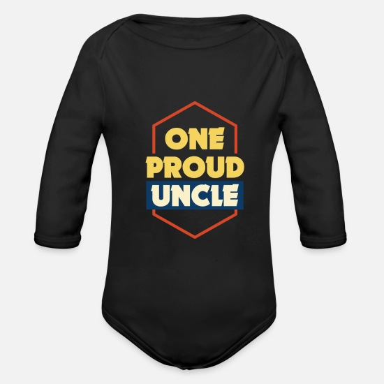 Gift Idea Baby Clothes - uncle - Organic Long-Sleeved Baby Bodysuit black