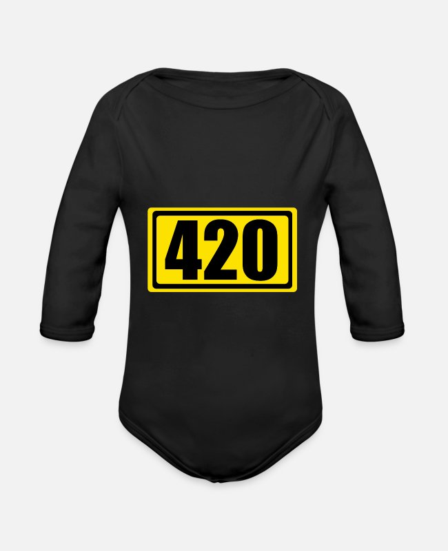 Hemp Baby Bodysuits - Hemp Weed Cannabis 420 - Organic Long-Sleeved Baby Bodysuit black
