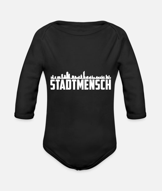2019 Baby Clothes - T-Shirt | City man Weiss - Organic Long-Sleeved Baby Bodysuit black