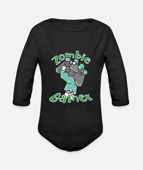 Game Baby Bodysuits - Gamer - Organic Long-Sleeved Baby Bodysuit black