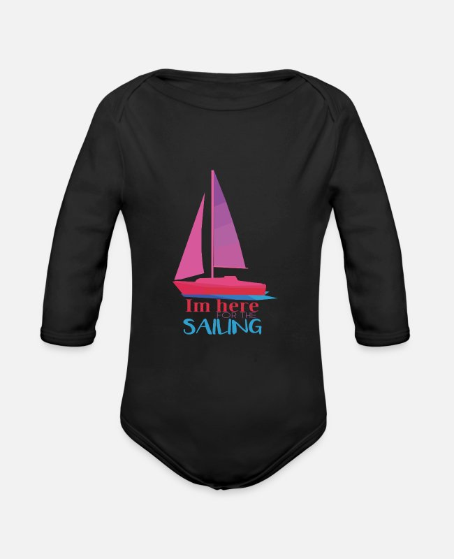Sail Boat Baby Bodysuits - Sailboat - Organic Long-Sleeved Baby Bodysuit black