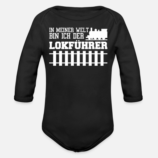 Railway Baby Clothes - Railway station - Organic Long-Sleeved Baby Bodysuit black
