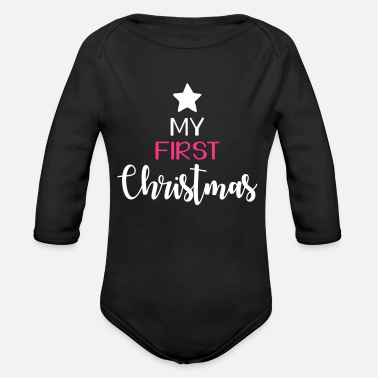 my first christmas - Organic Long-Sleeved Baby Bodysuit