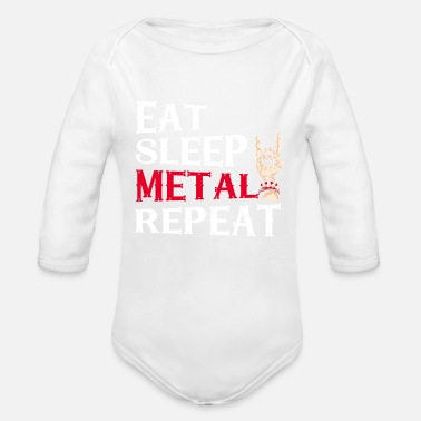 Metal Eat Sleep Metal Repeat Party Heavy Metal Gift - Rompertje met lange mouwen