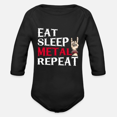 Black Metal Eat Sleep Metal Repeat Party Heavy Metal Gift - Rompertje met lange mouwen