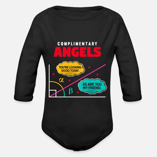 Gift Idea Baby Clothes - Complementary Angles - Math Math Geometry - Organic Long-Sleeved Baby Bodysuit black