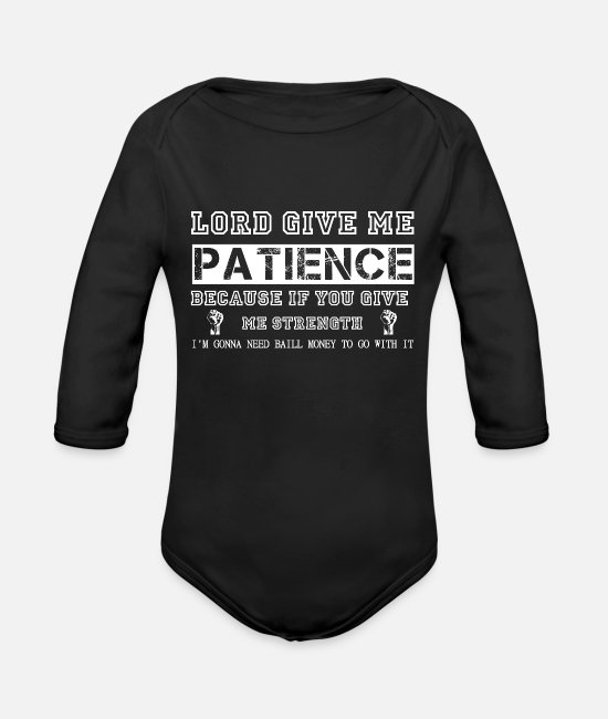 Patience Baby Bodysuits - Lord give me solitaire - Organic Long-Sleeved Baby Bodysuit black